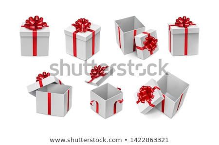White Gift Box with Red Ribbon and Bow on the Red Background Stock photo © maxpro