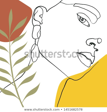 Beautiful girl's face on abstract floral background Stock photo © Nejron