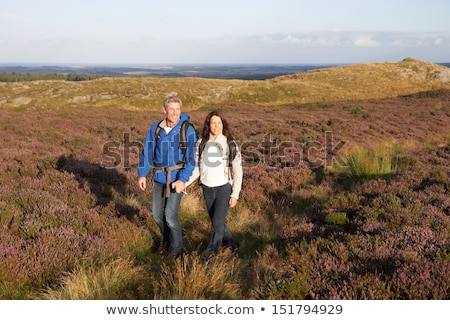 Couples Hiking Across Moorland Covered With Heather Stock photo © monkey_business