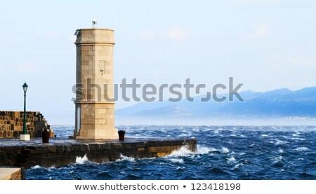 resim · deniz · feneri · güçlü · rüzgâr · gün · batımı - stok fotoğraf © nneirda