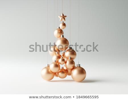 Shiny bright copper colored Christmas balls Stock photo © juniart