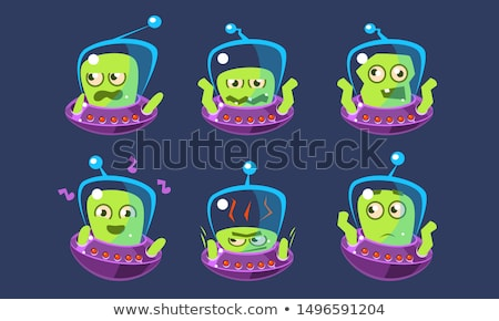 set of space aliens icons with different emotions happy and sad faces stock photo © elenapro
