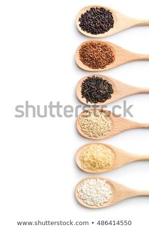 Rizs magvak fakanál rusztikus fából készült konyha Stock fotó © ozgur
