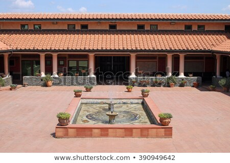 house in old roman style with fountain Stock photo © goce
