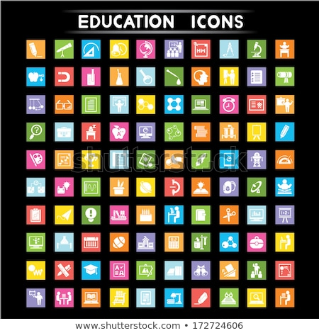 Modern flat vector square icons of school subjects Stock photo © vectorikart