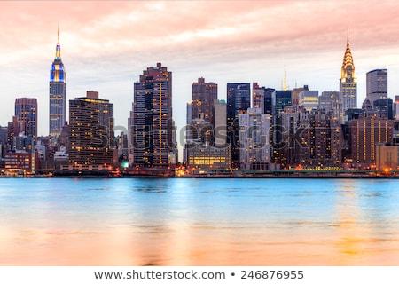 Stockfoto: Gebouwen · groene · punt · buurt · skyline · rivier