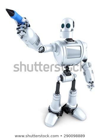 Robot ír láthatatlan képernyő izolált vágási körvonal Stock fotó © Kirill_M
