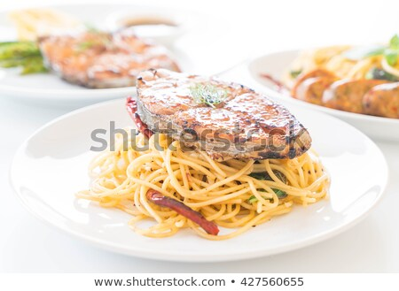 green pasta with grilled fish Stock photo © master1305