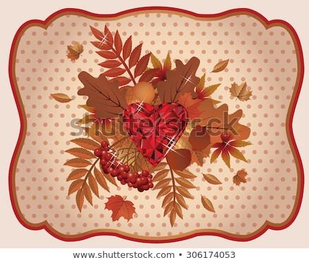 Najaar kaart robijn hart vintage papier Stockfoto © carodi