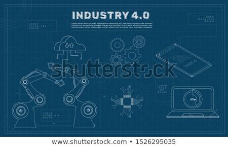 Dijital üretim planı dişliler endüstriyel dizayn Stok fotoğraf © tashatuvango