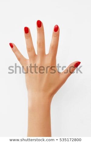Vermelho unha polonês mulher mãos branco moda Foto stock © tetkoren