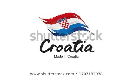 Croácia país bandeira mapa forma texto Foto stock © tony4urban