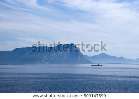 ködös · hegy · part · komp · tájkép · tenger - stock fotó © slunicko