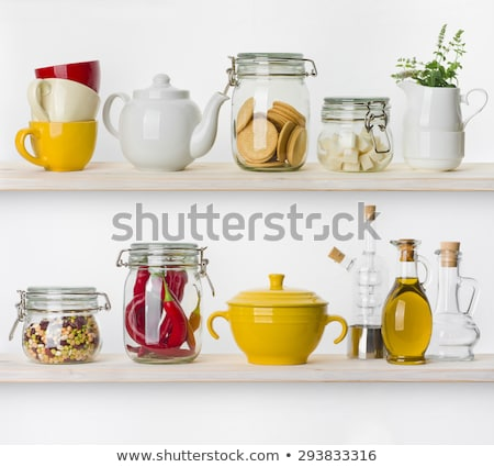 Various tableware on shelf in the kitchen Stock photo © vlaru