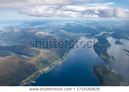 View on scandinavian fjords from airplane Stock photo © svetography