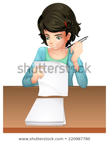 Stock photo: A woman answering the testpapers
