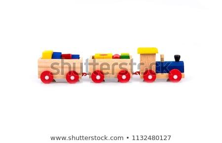 velho · brinquedo · de · madeira · trem · isolado · branco · crianças - foto stock © jonnysek