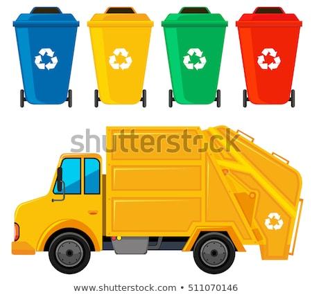 мусор грузовика желтый цвета четыре фон Сток-фото © bluering