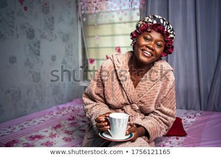 улыбающаяся · женщина · шуба · изображение · красивая · женщина · роскошный · женщину - Сток-фото © victoria_andreas