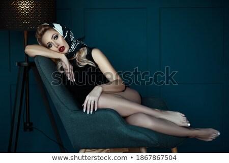 portret · jonge · vergadering · jonge · vrouw · rode · jurk - stockfoto © julenochek