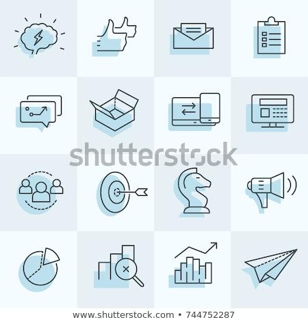 Stock fotó: Digital Marketing Icons Set Including Strategy Target Social M