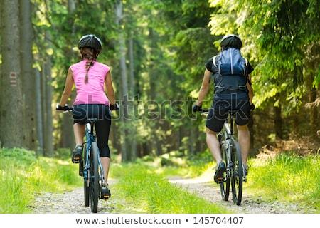 backpacker · fietsen · tour · bergen · jonge · fiets - stockfoto © alexanderandariadna