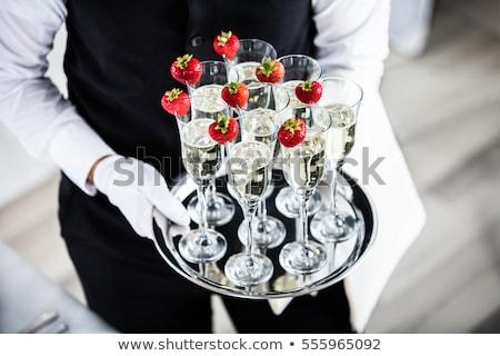 kéz · tálca · rózsaszín · rózsa · pezsgő · szemüveg · üveg - stock fotó © denismart