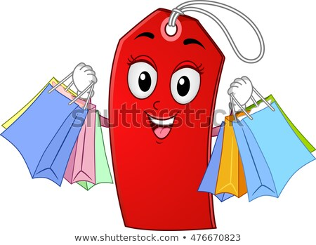 Mascot Price Tag Shopping Bags Stock photo © lenm