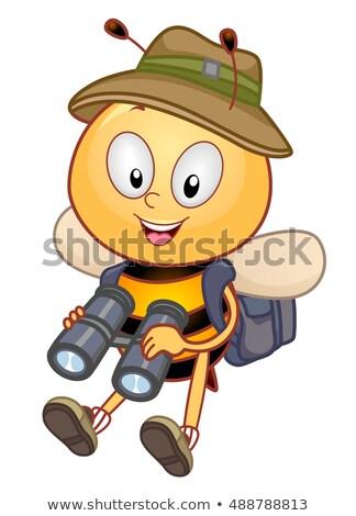 mascot bee explorer binoculars stock photo © lenm