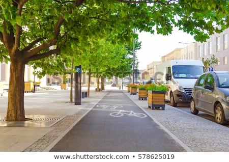 Ciclismo corsia simbolo auto bicicletta trasporto Foto d'archivio © IS2