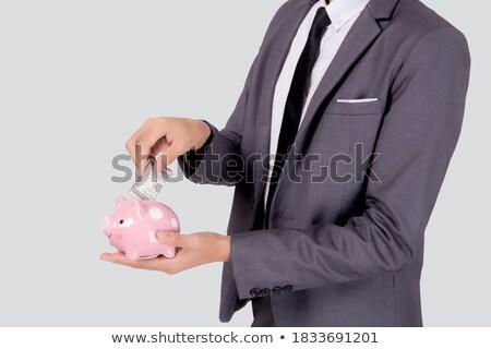 Asya işadamı dolar işareti el kurumsal iş adamları Stok fotoğraf © studioworkstock