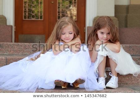 Dziewczynka biały suknia ilustracja dziecko student Zdjęcia stock © bluering