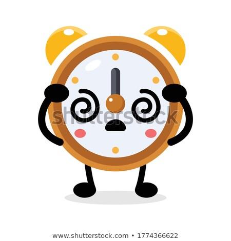 Mascot Alarm Clock Stressed Tired Stock photo © lenm