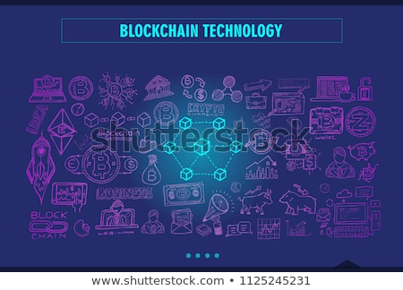 Cryptocurrency concept hand drawn doodle designs like: blockchai Stock photo © DavidArts