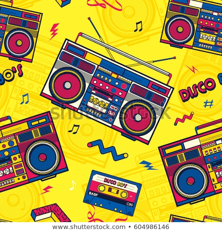 Boombox retro pattern seamless. tape recorder Vector background. Stock photo © popaukropa