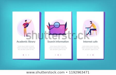 Akademicki laboratorium app interfejs szablon studentów Zdjęcia stock © RAStudio