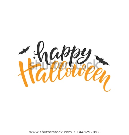 happy halloween vector illustration with typography lettering flying bats and spider on white backg stock photo © articular