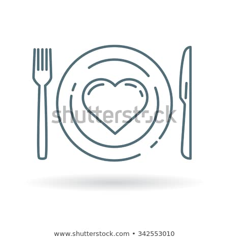 line food icons heart healthy eating love concept stock photo © cienpies
