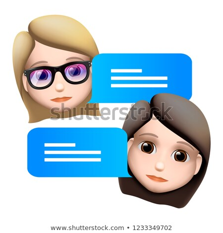 Chat bot woman emoji concept. Modern style cartoon character icon design. Dialog help service. Isola Stock photo © ikopylov