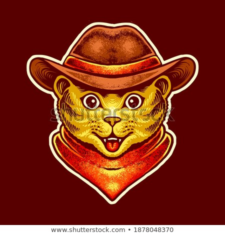Cartoon glimlachend cowboy kitten Stockfoto © cthoman