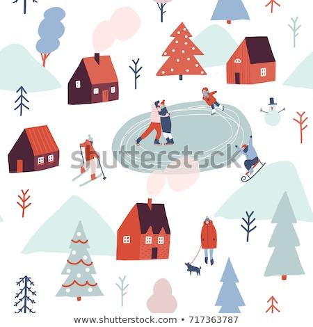 люди лыжах снег лес Рождества Сток-фото © Margolana
