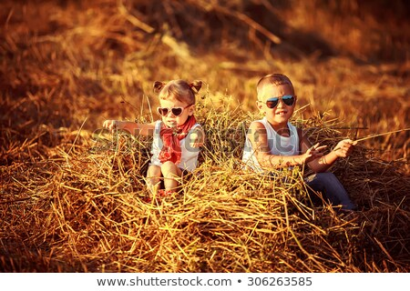 Alegre irmão irmã relaxante fazenda Foto stock © konradbak