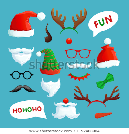A set of hat and headbands in the style of Christmas and New year isolated on white background. Vect stock photo © Lady-Luck