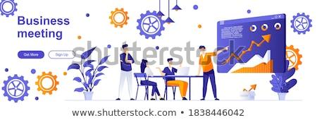 Promóció stratégia szalag fejléc üzletember megafon Stock fotó © RAStudio