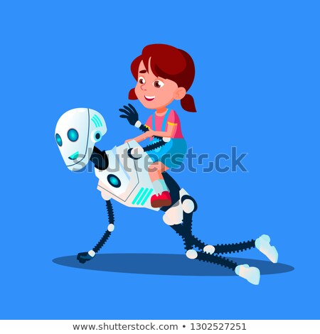 robot playing with little kid girl sitting on his back vector isolated illustration stock photo © pikepicture