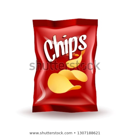 Realistic mockup package of green chips package with label isolated on white background Stock photo © MarySan