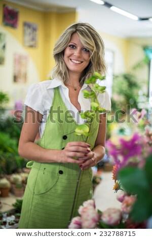 Heureux fleuriste femme 20s posant Photo stock © deandrobot