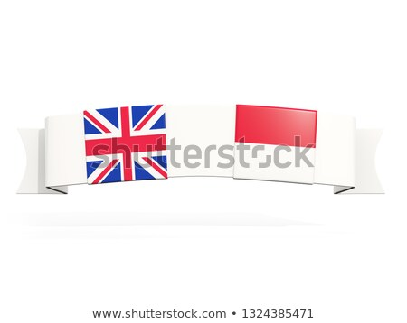 banner with two square flags of united kingdom and indonesia stock photo © mikhailmishchenko