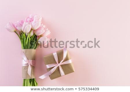 Tulipánok virágok ajándék doboz ünnepi nők terv Stock fotó © furmanphoto