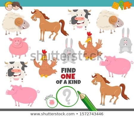 one of a kind game with cartoon farm animals Stock photo © izakowski